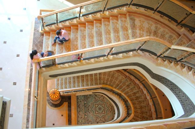 elaborate staircase in Emirates Palace