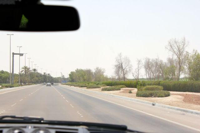 view from the taxi driving towards the Corniche
