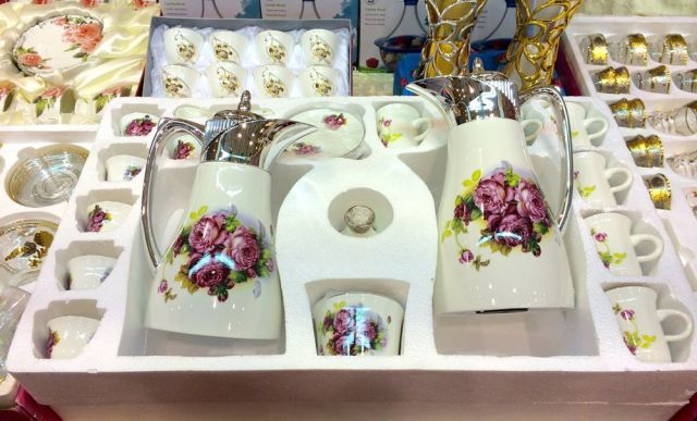 rose decorated tea and coffee set