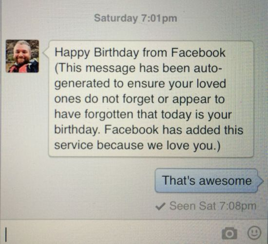 social media is at it again, but this birthday message oozes love that's also auto-generated