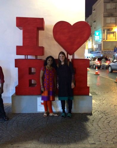Priya and me in front of I Heart BH at Manama Souq