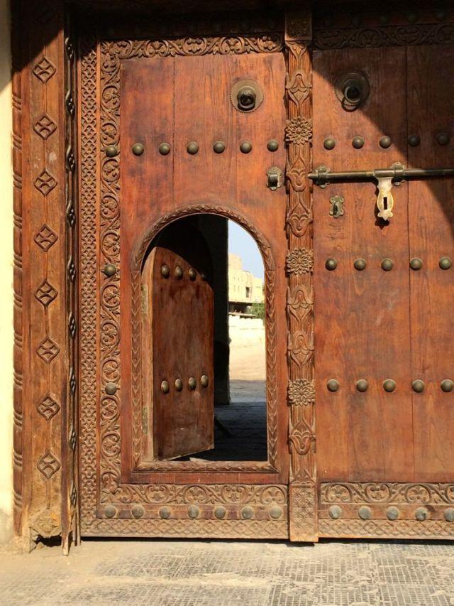 an entrance in a door