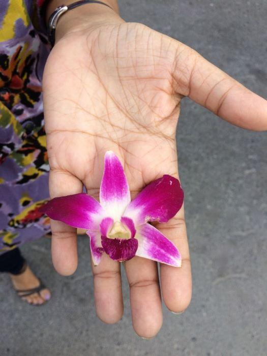 Priya holding an orchid