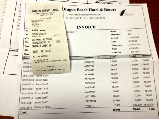 one of our many hotel bills