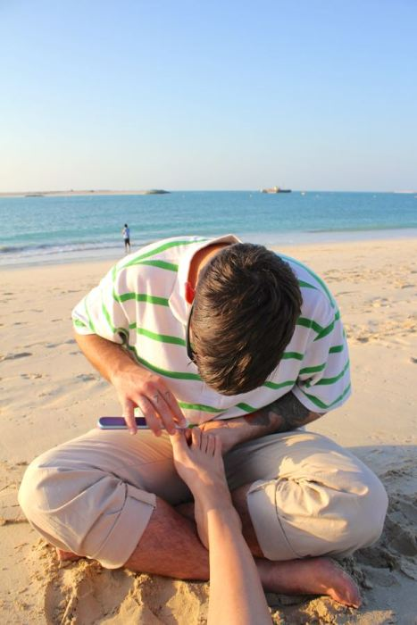 Caleb pampering me on the beach