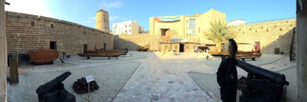 inside the fort walls of Dubai Museum