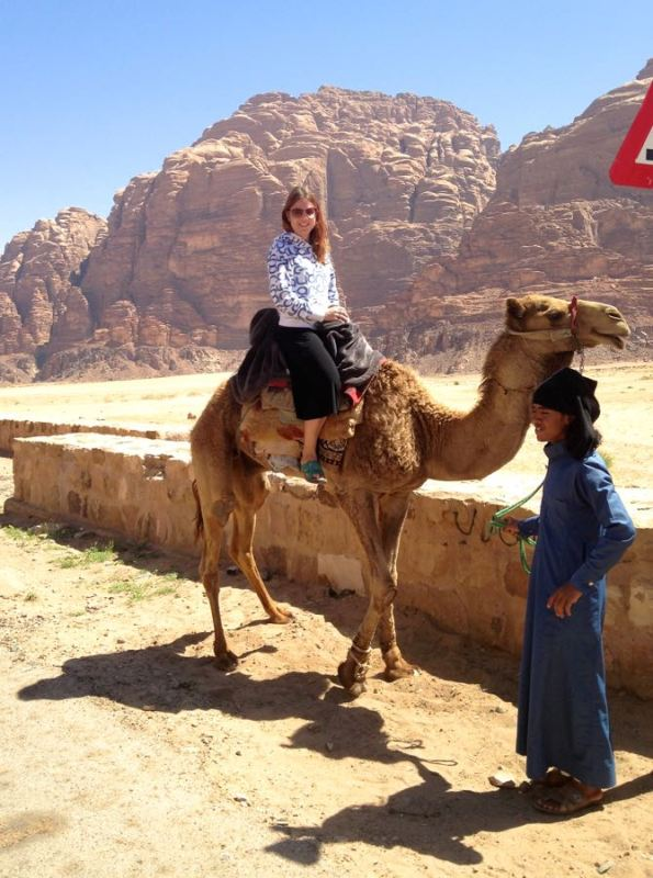 me on a dromedary in the desert