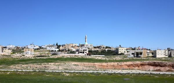 a mosque in the distance