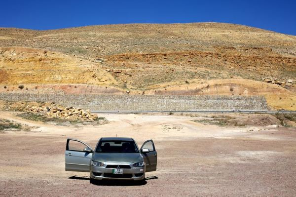 the rental car taking in the view