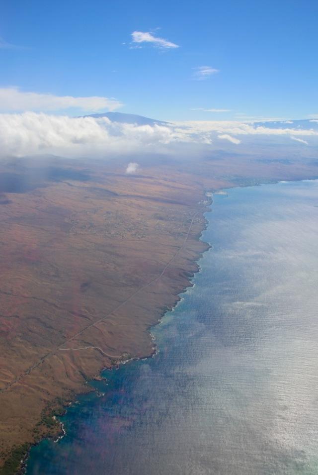 flying into Kona, Hawaii