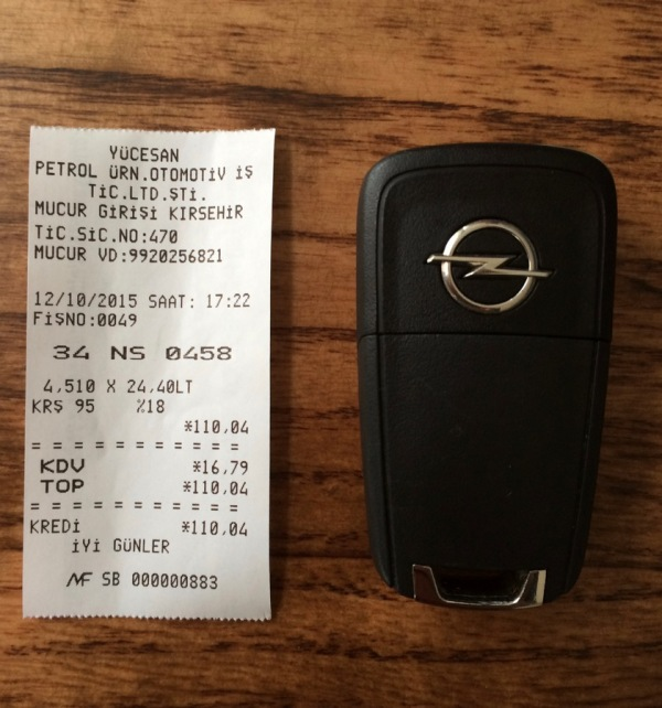 petrol receipt vs key fob