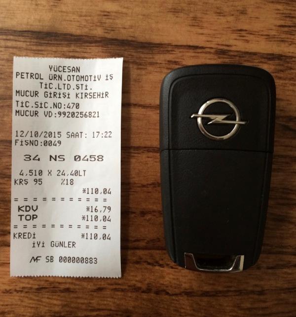 petrol receipt vs key fob